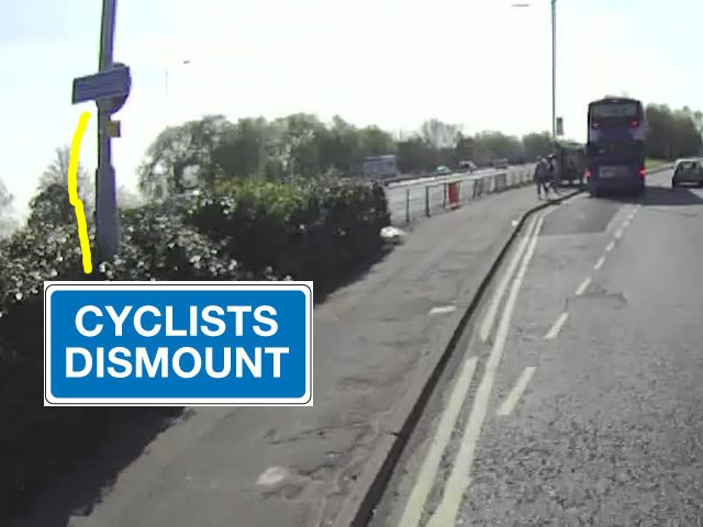 Cyclist dismount signs on Bolton Road