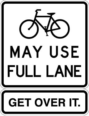 Cyclists may use full lane image